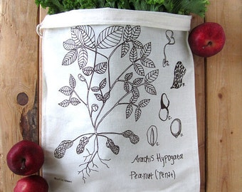 Reusable Cotton Produce Bags - Set of 2 - Screen Printed Natural Cotton Produce Bags - Eco Friendly - Grocery Bags - Botanical Peanut Plant