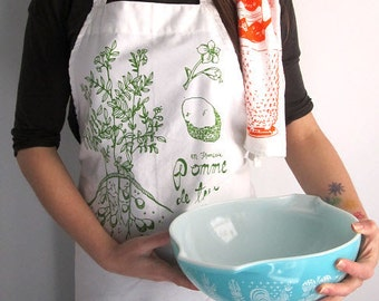 Full Apron - Screen Printed Apron - Natural Cotton Twill - Botanical Potato Plant Illustration - Eco Friendly - Kitchen Apron - Handmade