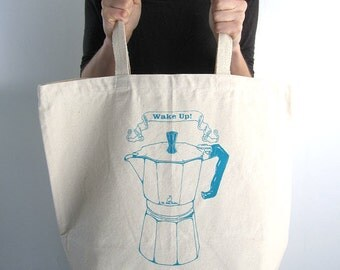 Eco Friendly Canvas Tote Bag - Large Recycled Cotton Grocery Bag Shopper Tote - Reusable and Washable - Italian Espresso Maker