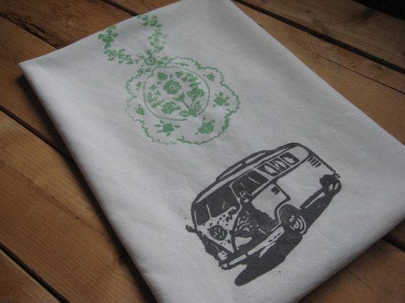 Block Printed Orgnic Cotton VW Bus Towel