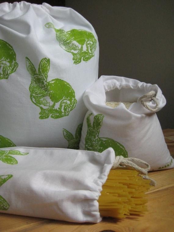 Rabbit Produce/Bulk Bin Block Printed Organic Cotton Bags (set of 3)