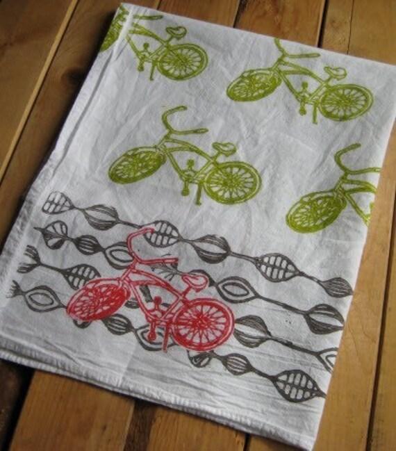 Block Printed Organic Cotton Bicycle Towel