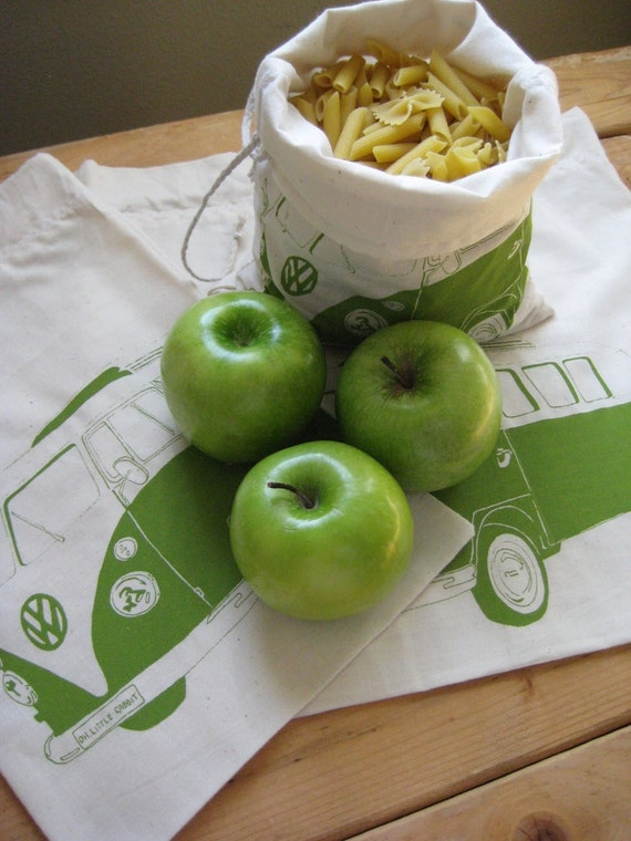 Screen Printed Reusuable Organic Cotton VW Bus Produce Bags