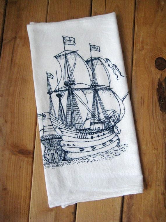 Screen Printed Organic Cotton Nautical Flour Sack Towel - Soft and Absorbent Tea Towel