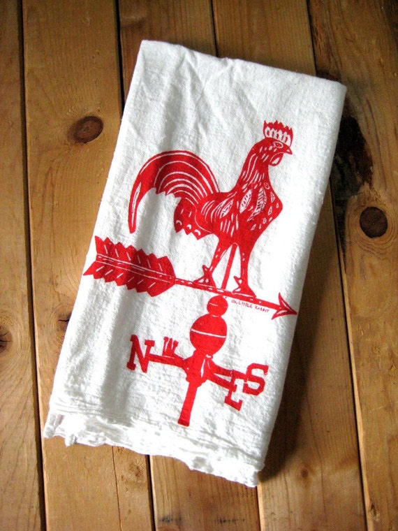 Tea Towel - Screen Printed Organic Cotton Rooster Weather Vane Flour Sack Towel - Rustic Kitchen Towel