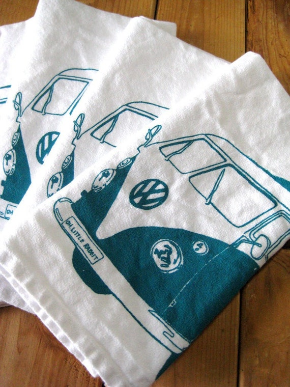 Screen Printed Organic Cotton VW Cloth Napkins - Eco Friendly Dinner Napkins