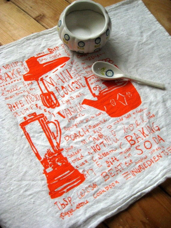 Screen Printed Organic Cotton Kitchen Gadget Flour Sack Towel - Awesome Tea Towel For Dishes