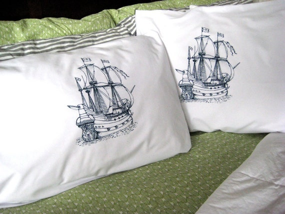 Screen Printed Nautical Pillow Covers (set of 2 standard)