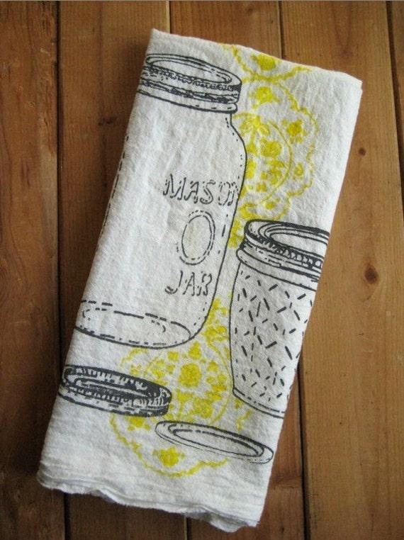 Hand Printed Organic Cotton Mason Jar Flour Sack Towel