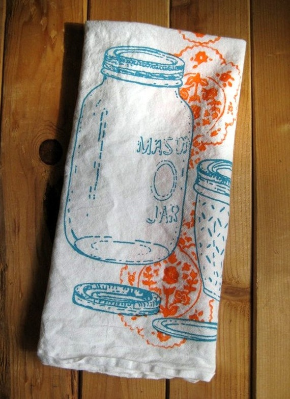 Hand Printed Organic Cotton Mason Jar Flour Sack Towel