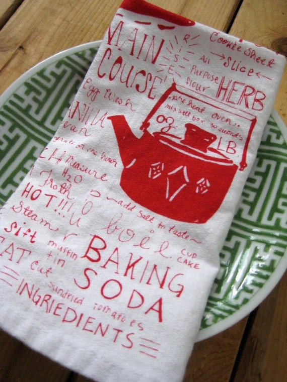 Screen Printed Organic Cotton Cloth Napkins - Kitchen Gadget Dinner Napkins - Eco Friendly and Reusable