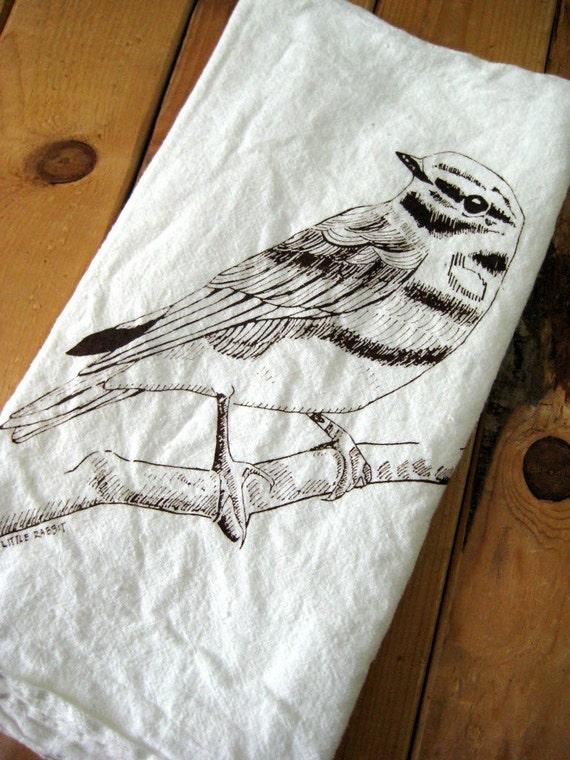 Screen Printed Organic Cotton Flour Sack Towel - Eco Friendly Tea Towel - Woodland Bird Illustration