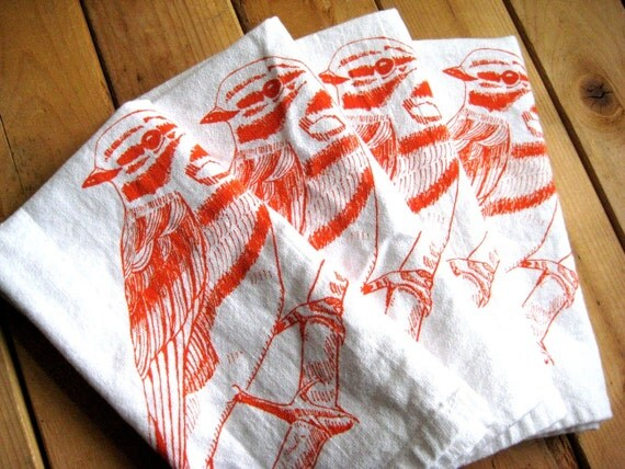 Screen Printed Organic Cotton Cloth Napkins - Eco Friendly Bird Dinner Napkins