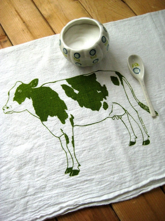 Screen Printed Organic Cotton Dairy Cow Flour Sack Towel - Soft and Absorbent Dish Towel