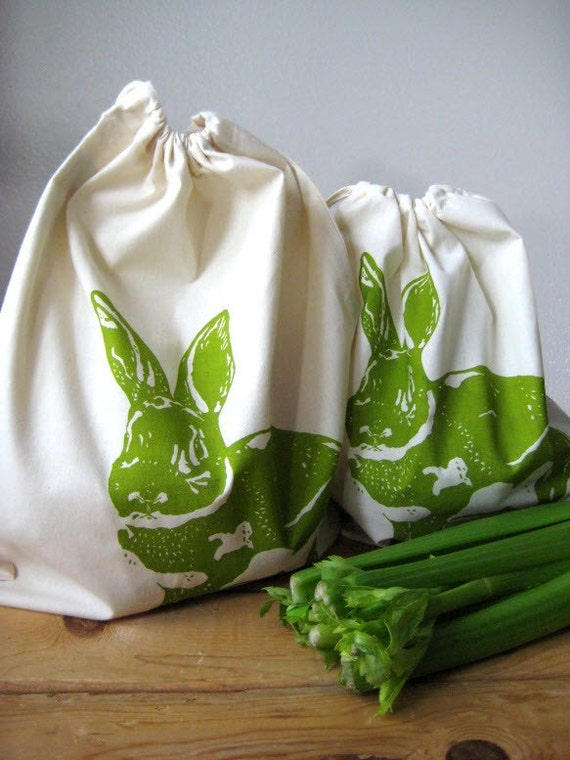 Screen Printed Natural Cotton Rabbit Produce Bags - Reusable and Washable