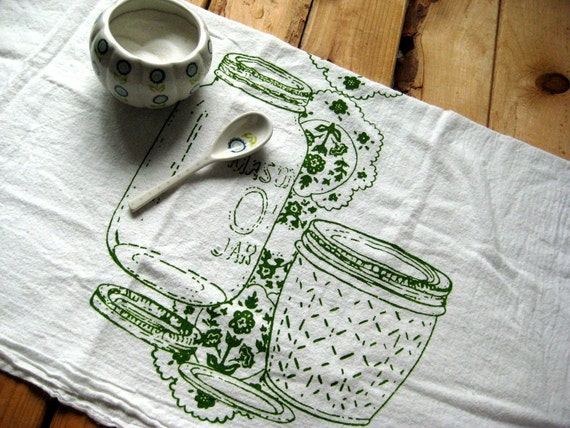 Tea Towel - Screen Printed Organic Cotton Mason Jar Flour Sack Towel - Awesome Kitchen Towel for Dishes