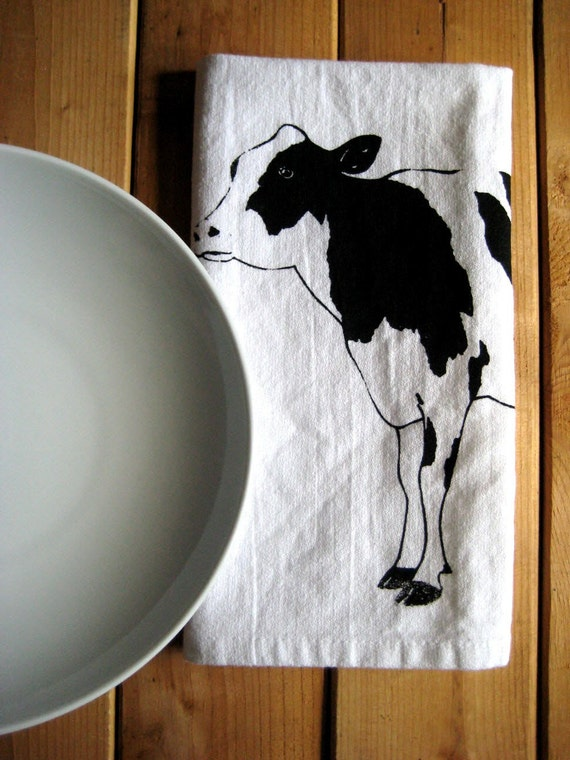 Screen Printed Organic Cotton Dairy Cow Cloth Napkins - Eco Friendly Dinner Napkins