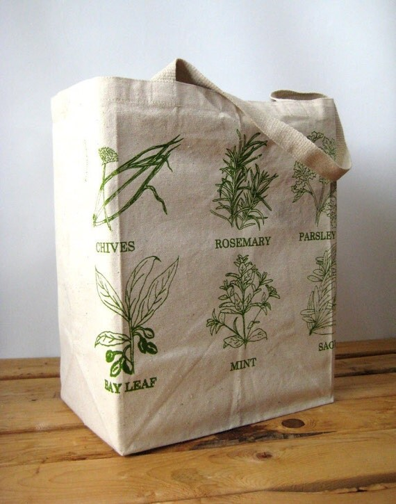 Oversized Recycled Cotton Grocery Bag - Shopper Tote - Reusable and Washable - Eco Friendly - Screen Printed Herbs
