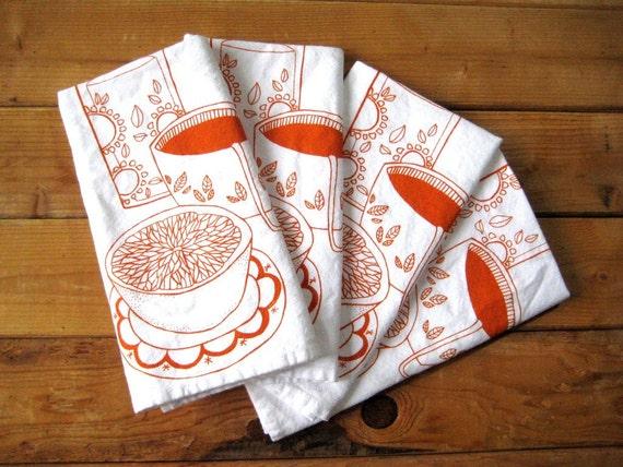 Screen Printed Organic Cotton Breakfast Cloth Napkins - Eco Friendly Dinner Napkins - Mid Century - Reusable
