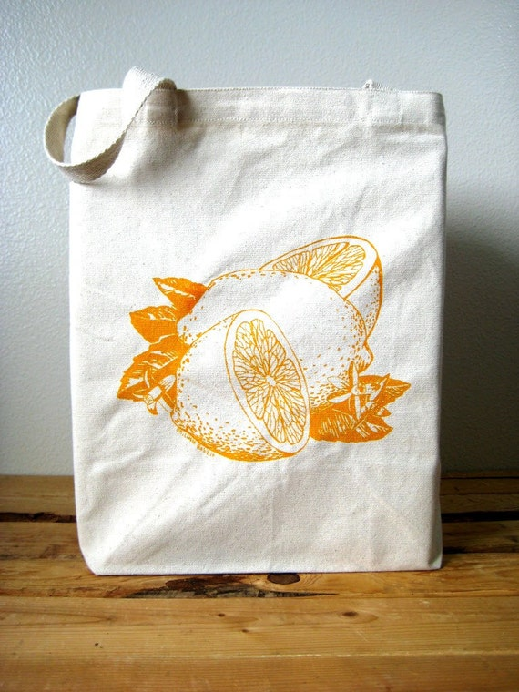 Eco Friendly Recycled Cotton Tote Bag - Oversized Reusable Grocery Shopper Tote - Screen Printed Citrus Canvas Tote