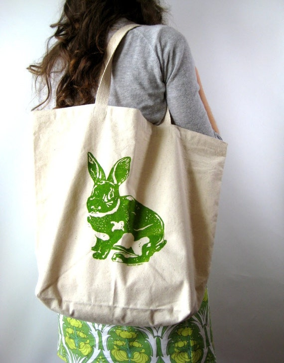 Screen Printed Canvas Tote Bag - Large Recycled Cotton Grocery Bag - Shopper Tote - Reusable and Washable - Bunny Rabbit