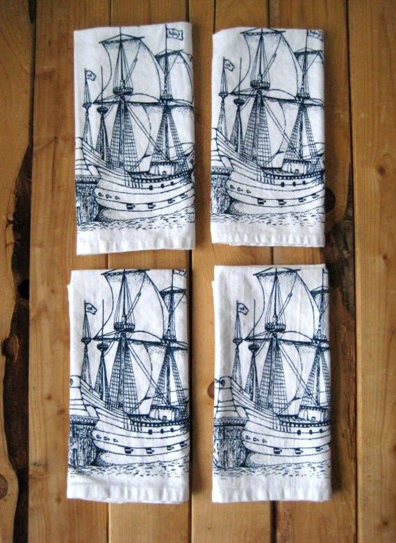 Screen Printed Organic Cotton Nautical Cloth Napkins - Eco Friendly Dinner Napkins