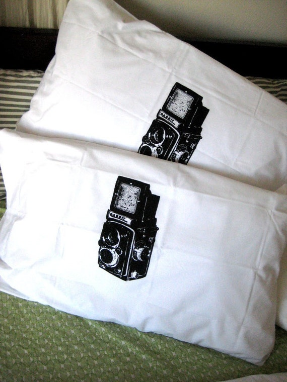 Screen Printed Vintage Camera Pillow Cases (set of 2 standard)