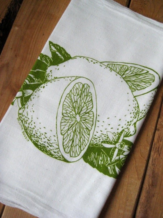 Screen Printed Organic Cotton Citrus Flour Sack Tea Towel - soft and absorbent kitchen towel