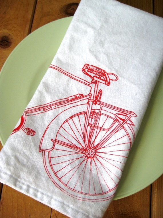 Organic Cotton Cloth Napkins - Screen Printed Bicycle Dinner Napkins - Eco Friendly and Awesome Table Linens for the Cycling enthusiast