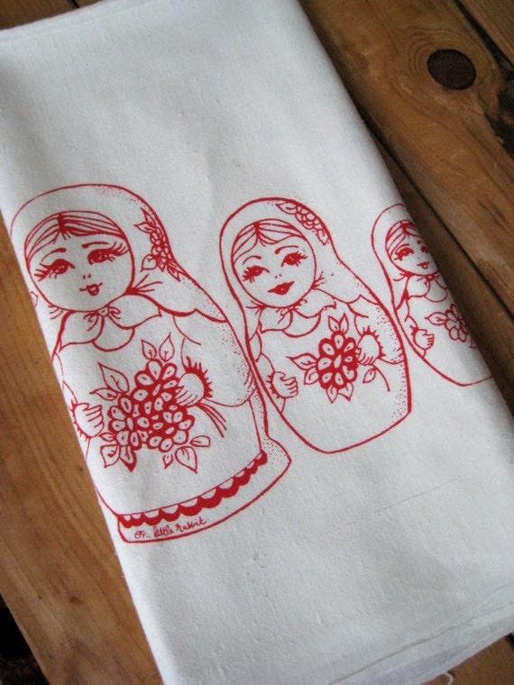 Screen Printed Organic Cotton Flour Sack Tea Towel - Nesting Dolls - Eco Friendly Hand Towel