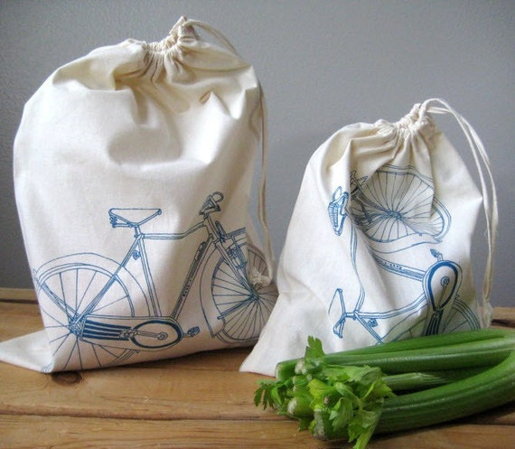Set of 2 - Screen Printed Natural Cotton Bicycle Produce Bags - Eco Friendly - Reusable and Washable