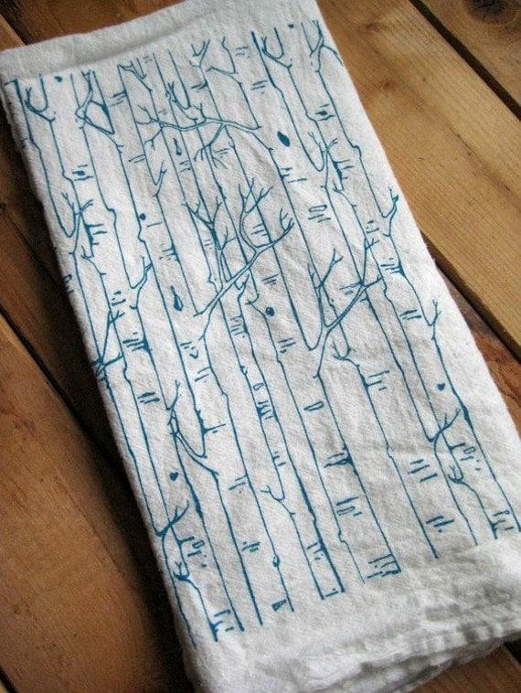 Tea Towel - Screen Printed Organic Cotton Birch Tree Flour Sack Towel - Soft and Absorbent Dish Towel