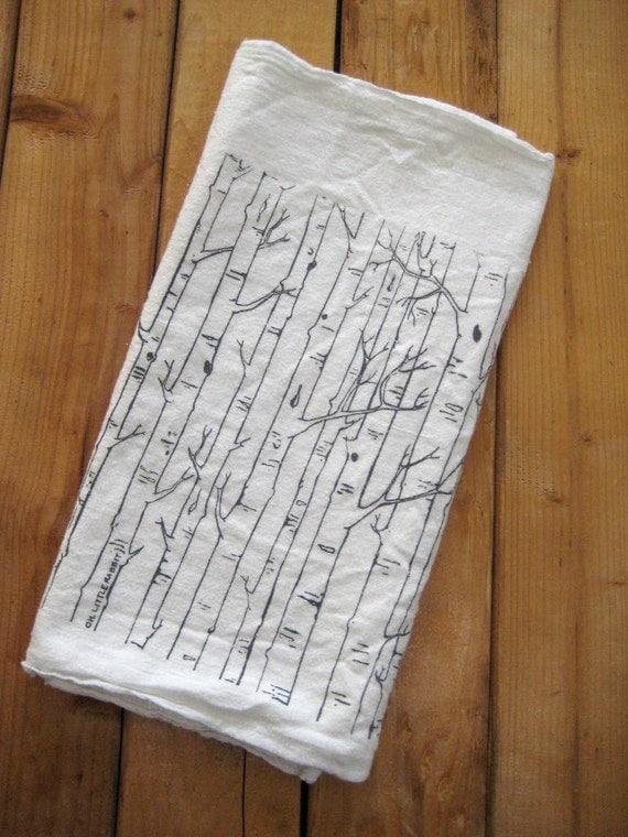 Screen Printed Organic Cotton Birch Tree Flour Sack Towel