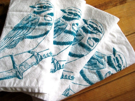 Screen Printed Organic Cotton Cloth Napkins - Eco Friendly Dinner Napkins - Woodland Bird Illustration