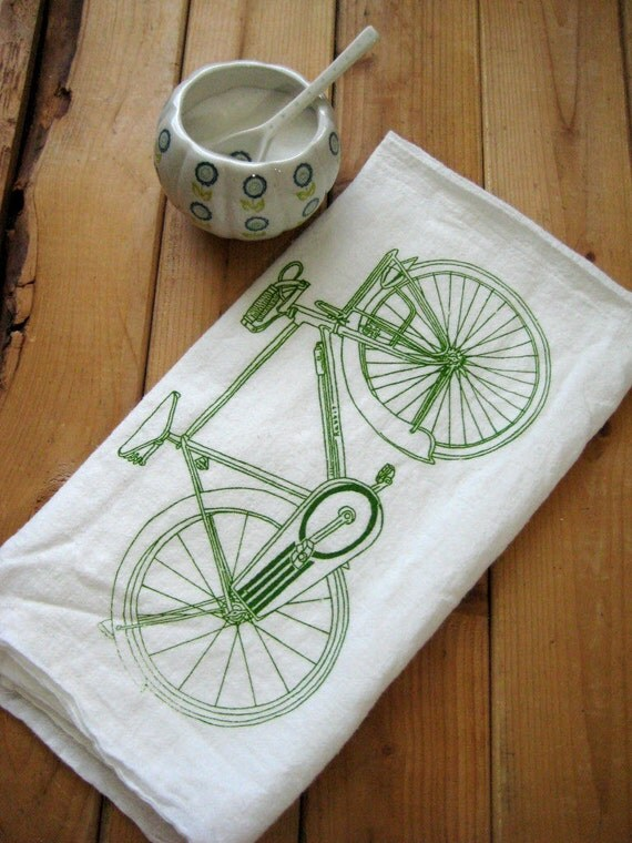 Screen Printed Organic Cotton Bicycle Flour Sack Towel