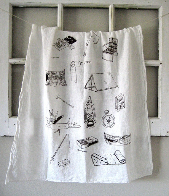 Tea Towel - Screen Printed Organic Cotton Camping Equipment Flour Sack Towel - Awesome Kitchen Towel for Dishes