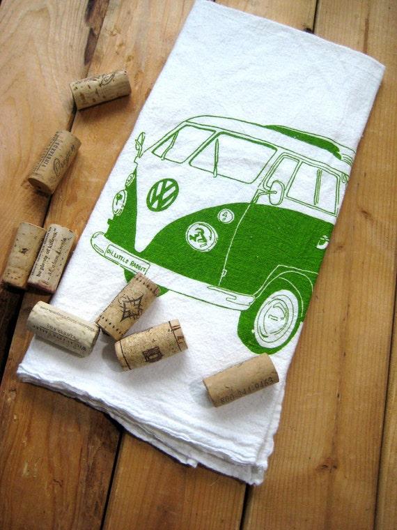 Screen Printed Organic Cotton VW Flour Sack Tea Towel - Eco Friendly Hand Towel