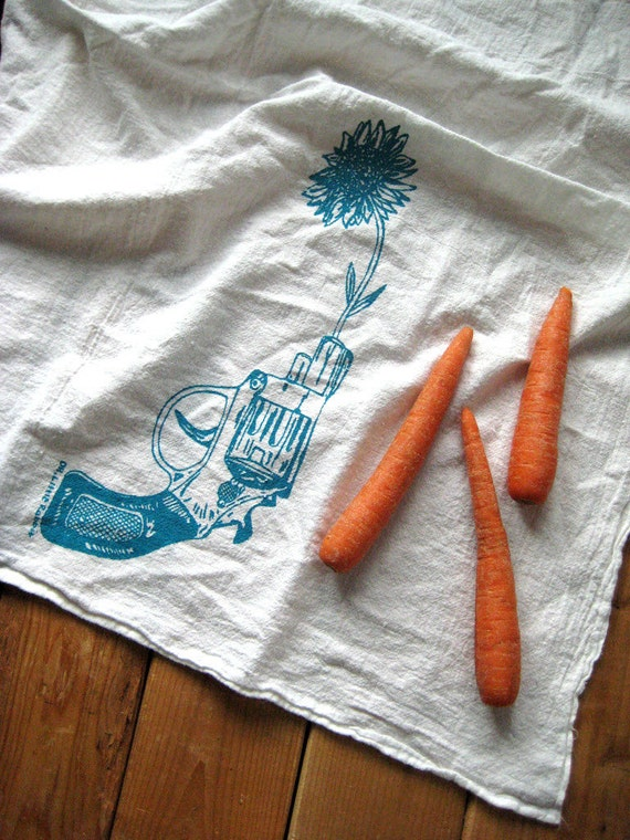 Screen Printed Organic Cotton Revolver and Daisy Flour Sack Towel - Awesome Tea Towel for Dishes - Valentines Day