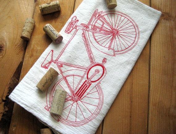 Screen Printed Organic Cotton Bicycle Flour Sack Tea Towel - Eco Friendly Dish Towel