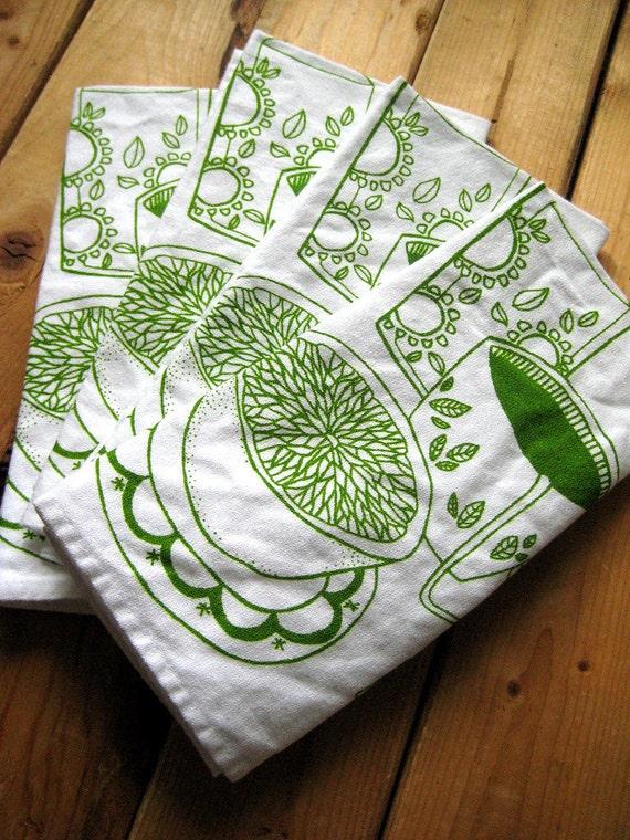 Screen Printed Organic Cotton Breakfast Cloth Napkins