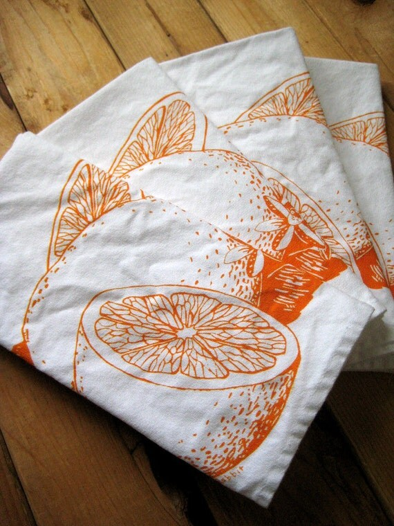 Screen Printed Organic Cotton Citrus Cloth Napkins - Dinner Napkins