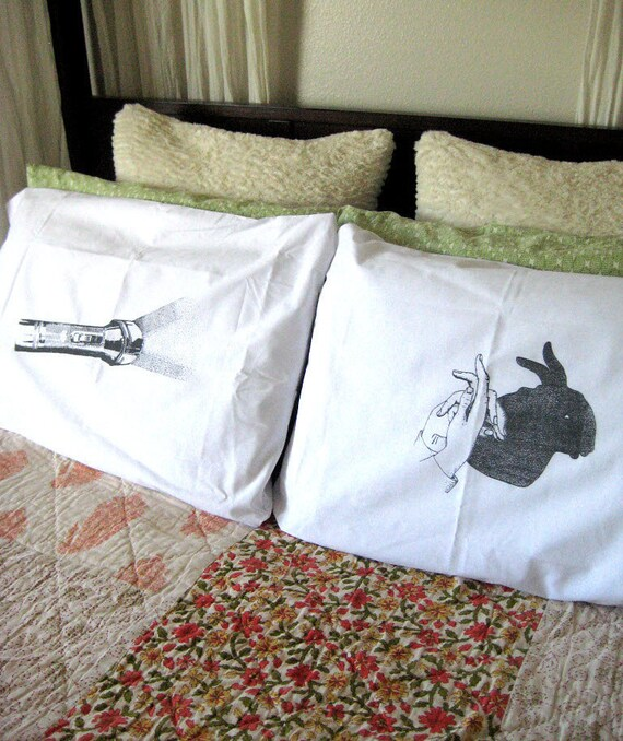 Screen Printed Flashlight and Shadow Puppet Pillow Covers - Standard Size - Eco Friendly Bedding