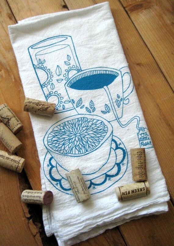 Tea Towel - Screen Printed Organic Cotton Breakfast Flour Sack Towel - Soft and Absorbent Dish Towel