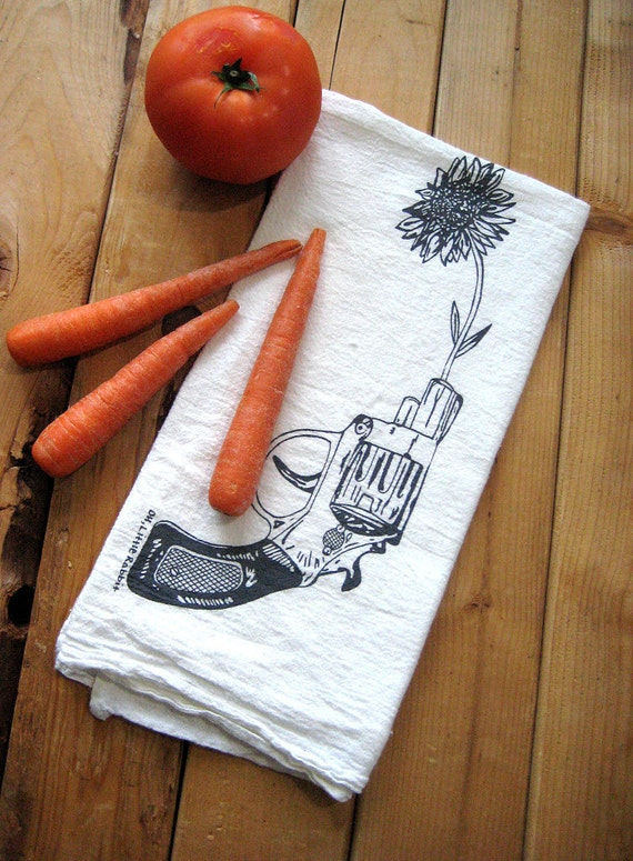 Screen Printed Organic Cotton Revolver and Daisy Flour Sack Tea Towel - Perfect Kitchen Towel for Dishes