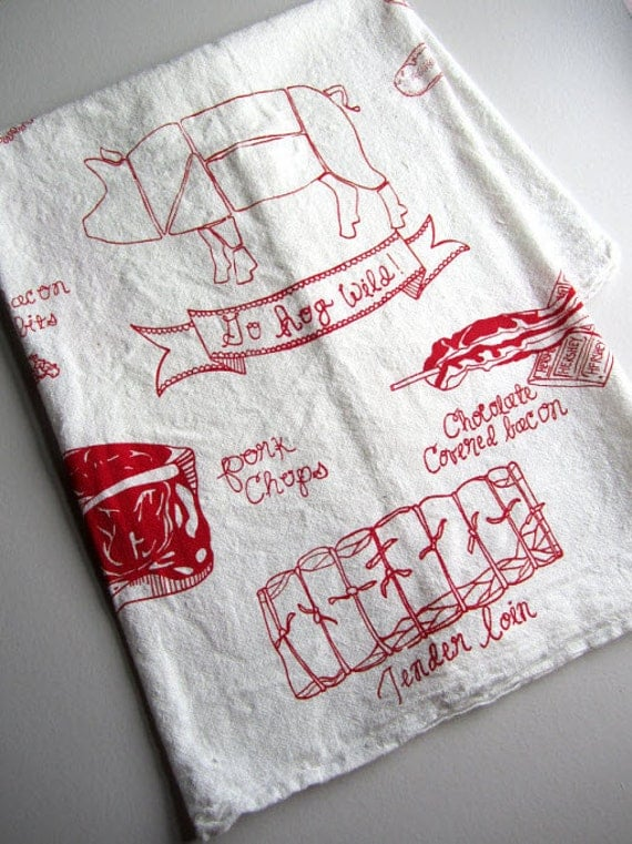 Tea Towel - Screen Printed Organic Cotton Go Hog Wild Flour Sack Towel - Awesome Kitchen Towel for Dishes