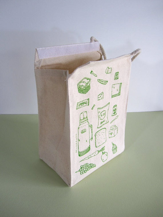 Screen Printed Recycled Cotton Lunch Bag - Washable and Reusable - Fun and Unique - Eco Friendly and Awesome