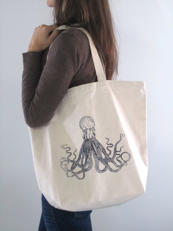 Screen Printed Oversized Reusable Recycled Cotton Grocery Bag Shopper Tote