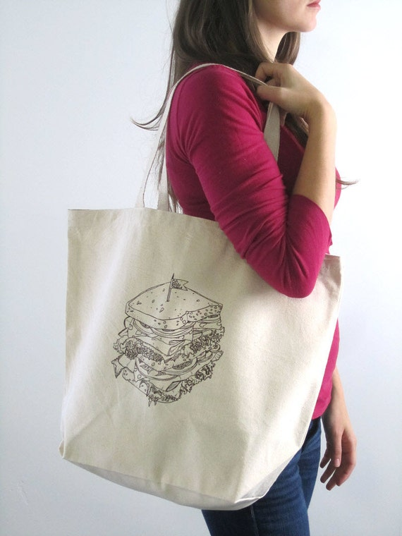 Screen Printed Recycled Cotton Grocery Bag - Eco Friendly Shopper Tote - Reusable and Washable - Large Canvas Tote Bag - Deli Sandwich Print
