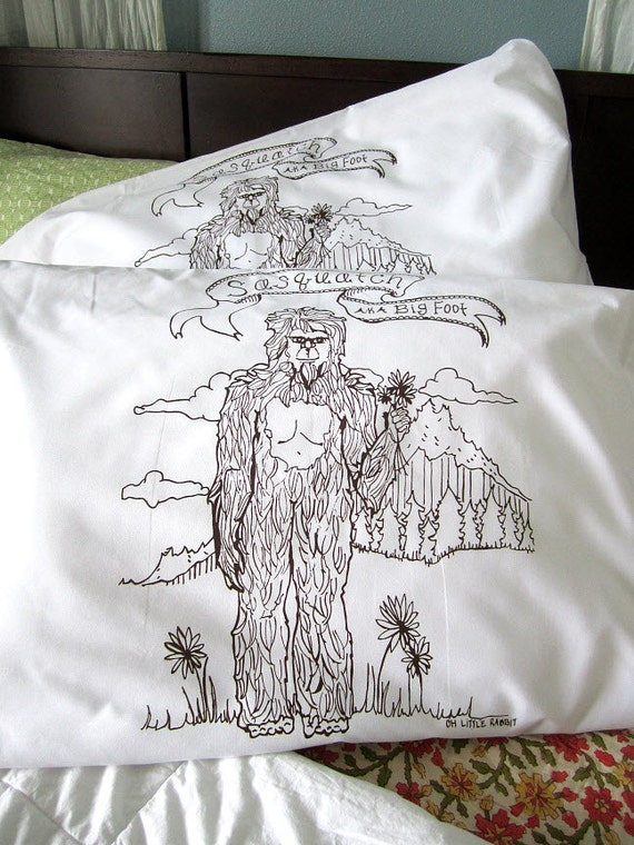 Screen Printed Sasquatch Pillow Cases (set of 2 standard) - Unique