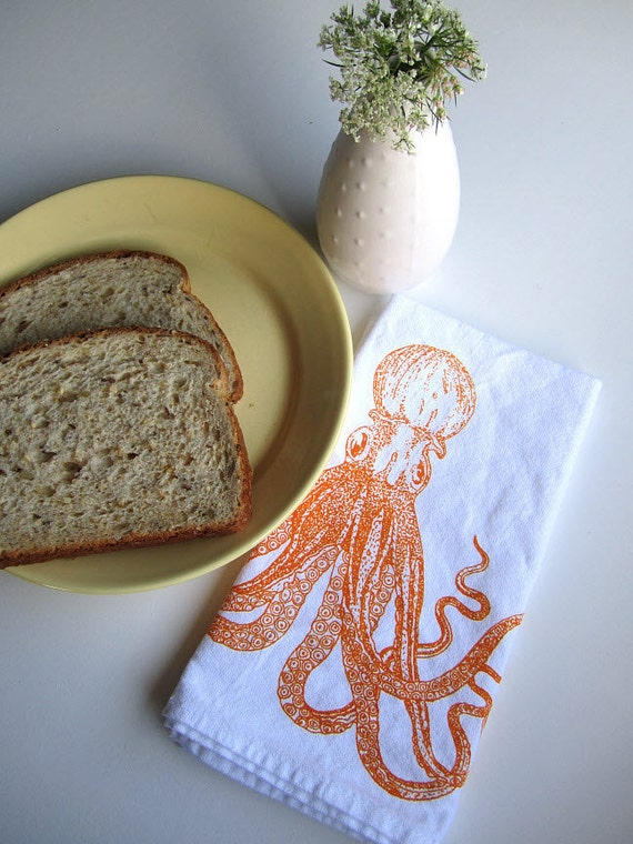 Screen Printed Organic Cotton Cloth Napkins - Eco Friendly Octopus Dinner Napkins